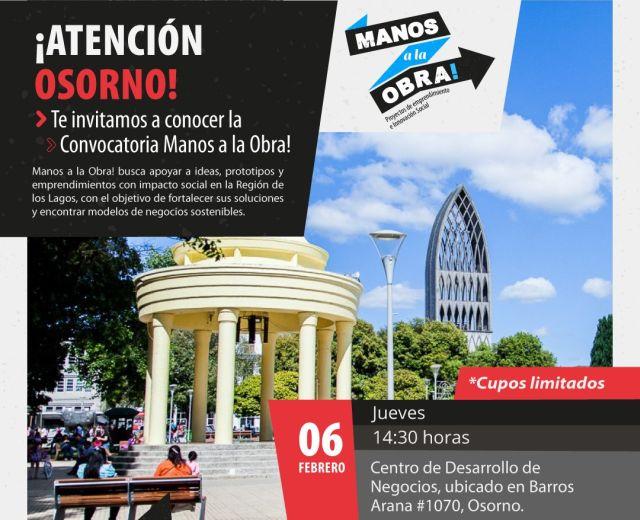 """Convocan a concurso de iniciativas sociales """"Manos a la Obra"""", en Osorno"""