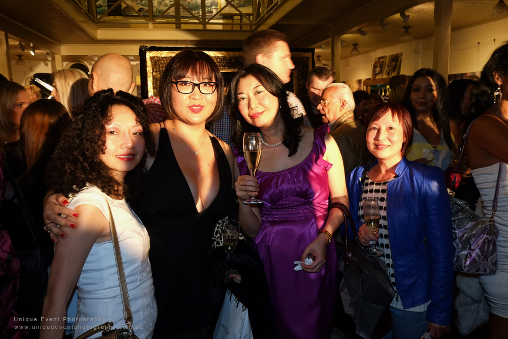 A group of Chinese ladies at The Billich Gallery 30th Anniversary 'Erotica' Party - Photographed by Kent Johnson for Unique Event Photography.