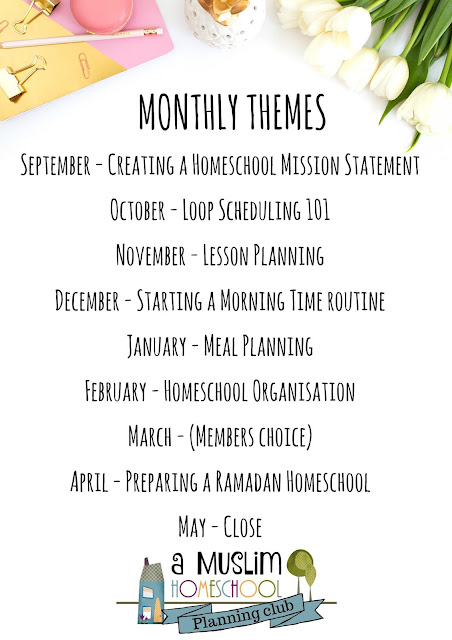 A Muslim Homeschool's Planning Club monthly theme schedule