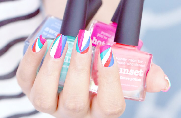 Summer Beaming Triangles Nail Art