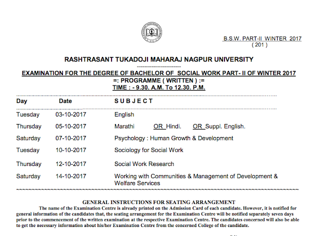 RTMNU Time Table BSW PART II Exam Winter 2017