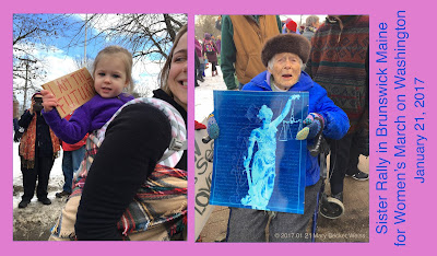 Sister Rally in Brunswick Maine for Women's March on Washington, Mary Becker Weiss photo