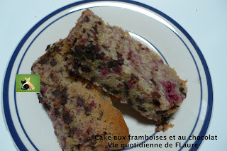 Vie quotidienne de FLaure: Cake aux framboises et au chocolat