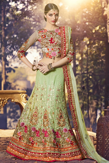 Pista Green Net Embroidered Designer Wedding Lehenga