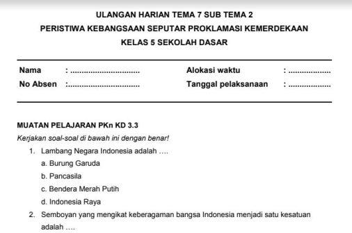 Soal Ulangan Harian K13 Kelas 5 Tema 7 Subtema 2 Sekolahdasar Net