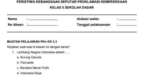 Soal Ulangan Harian K13 Kelas 5 Tema 7 Subtema 2