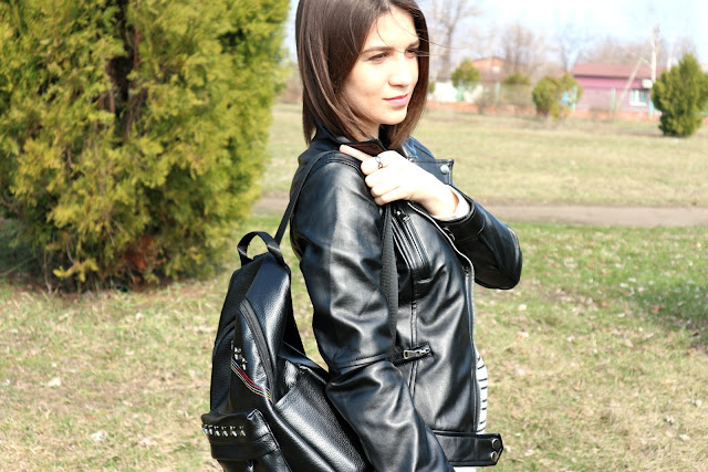 Criss Cross Faux Leather Backpack