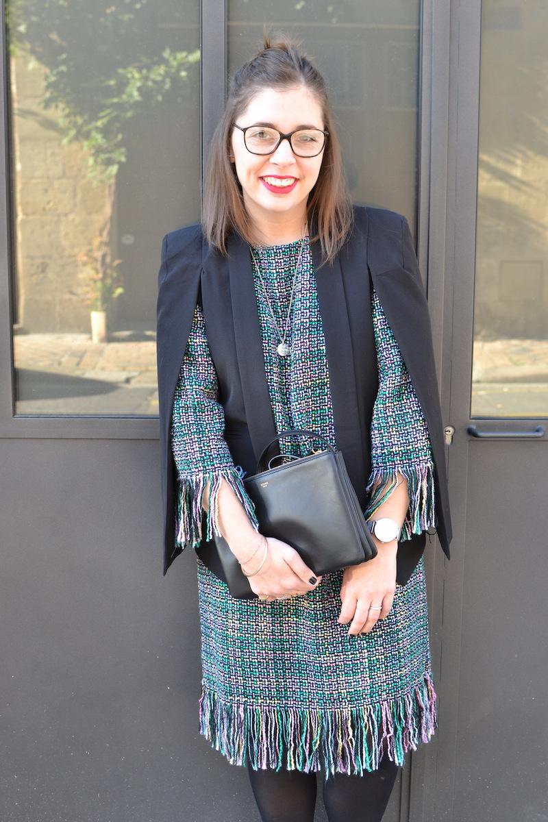 robe tweed et veste noir Sheinside, trio bag noir céline, collier l'atelier d'amaya