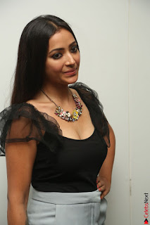 Swetha Basu in a Black Sleeveless Top Long Skirt at Mixture Potlam Movie Audio Launch 079.JPG