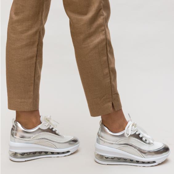 Pantofi Sport dama de vara Argintii cu talpa inalta cu silicon