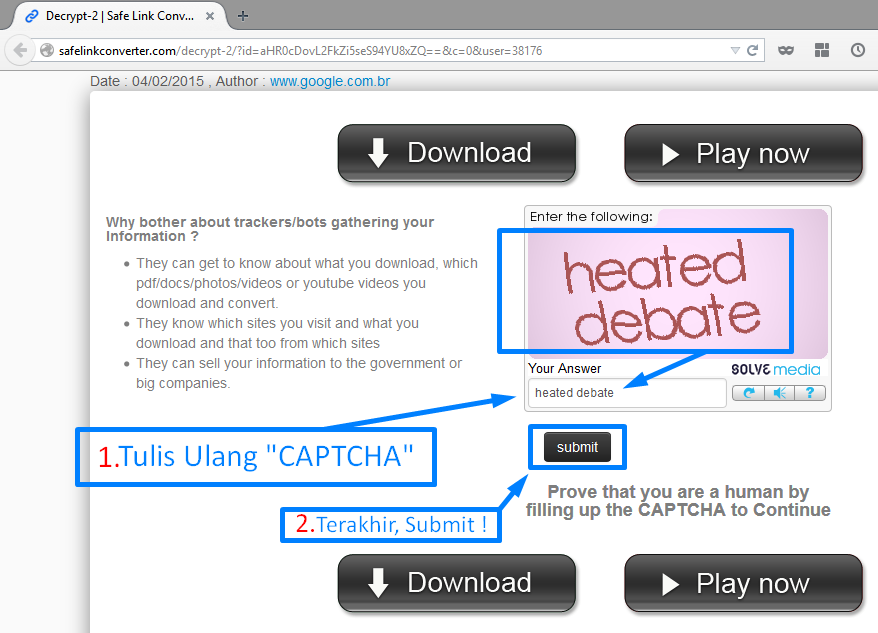 Cara Membuka Link Pada Situs Safelink Converter | Maulana