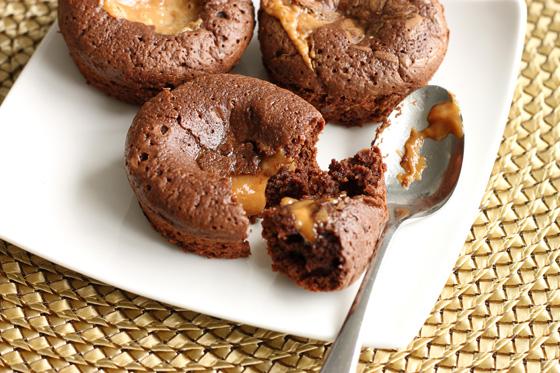 Molten Peanut Butter Caramel Brownie Cakes