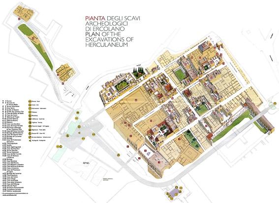 Mapa de las ruinas de Herculano