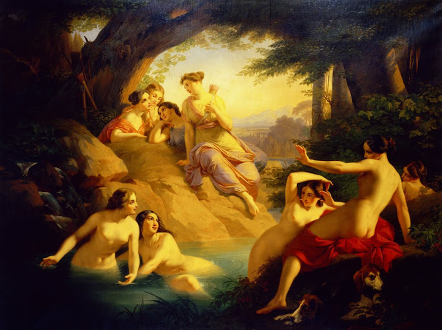 Detail of Diana Artemis and her nymphs bathing   by Emil Jacobs