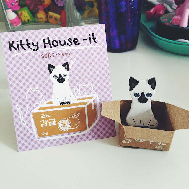 Kawaii Kitty Box House Sticky Memo Notes Siamese
