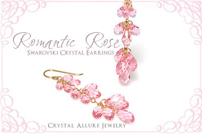 Pink Teardrop Swarovski Crystal Earrings -Romantic Rose Valentine Jewelry