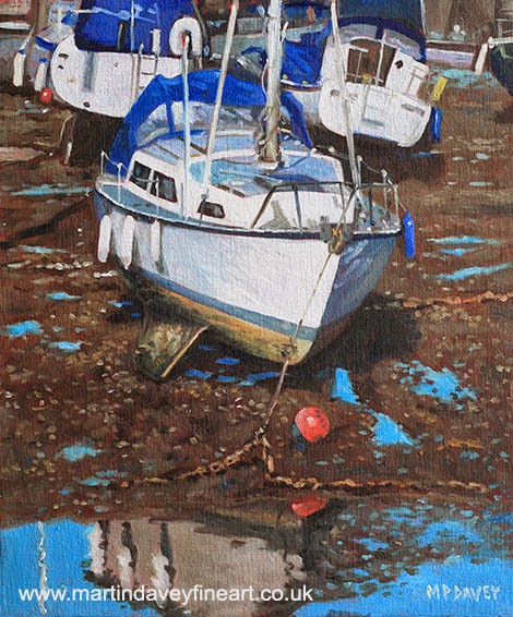 Single Boat on Eling Mudflats-oil painting