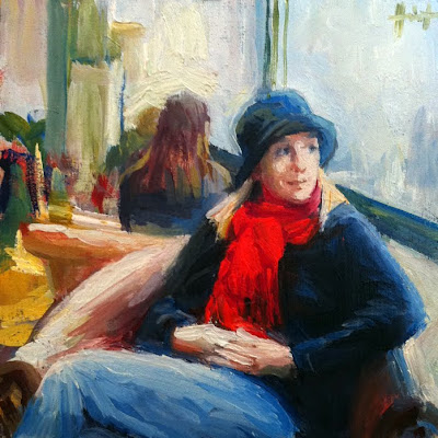 Red Scarf by Liza Hirst