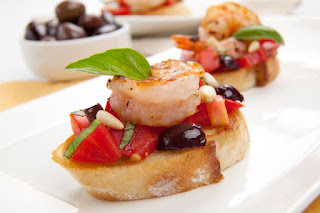 Bruschetta with shrimp