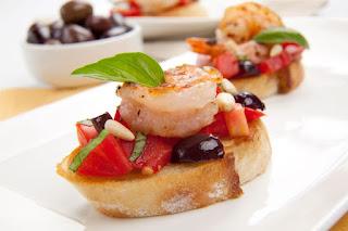 Bruschetta with shrimp