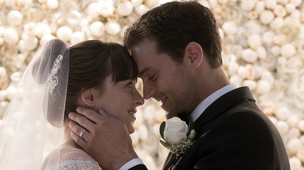 Dakota Johnson as Ana Steele and Jamie Dornan as Christian Grey in 'Fifty Shades Freed'