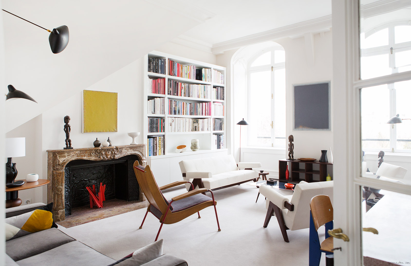 mid century modern, parisian apartment, interior design, art