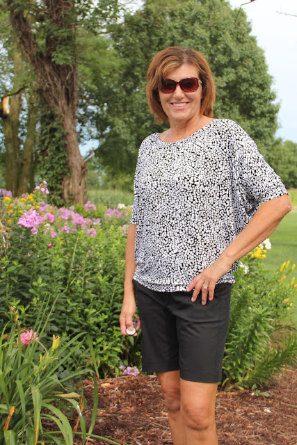 Simplicity 8089 batwing shirt from Mood Fabrics' jersey and Simplicity 1167 stretch twill shorts