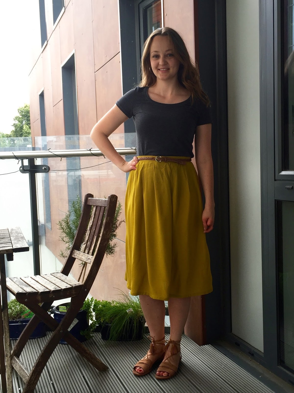 35ec9914e2d24 Mustard Rayon Midi Skirt & Charcoal Renfrew Tee | Diary of a Chain ...