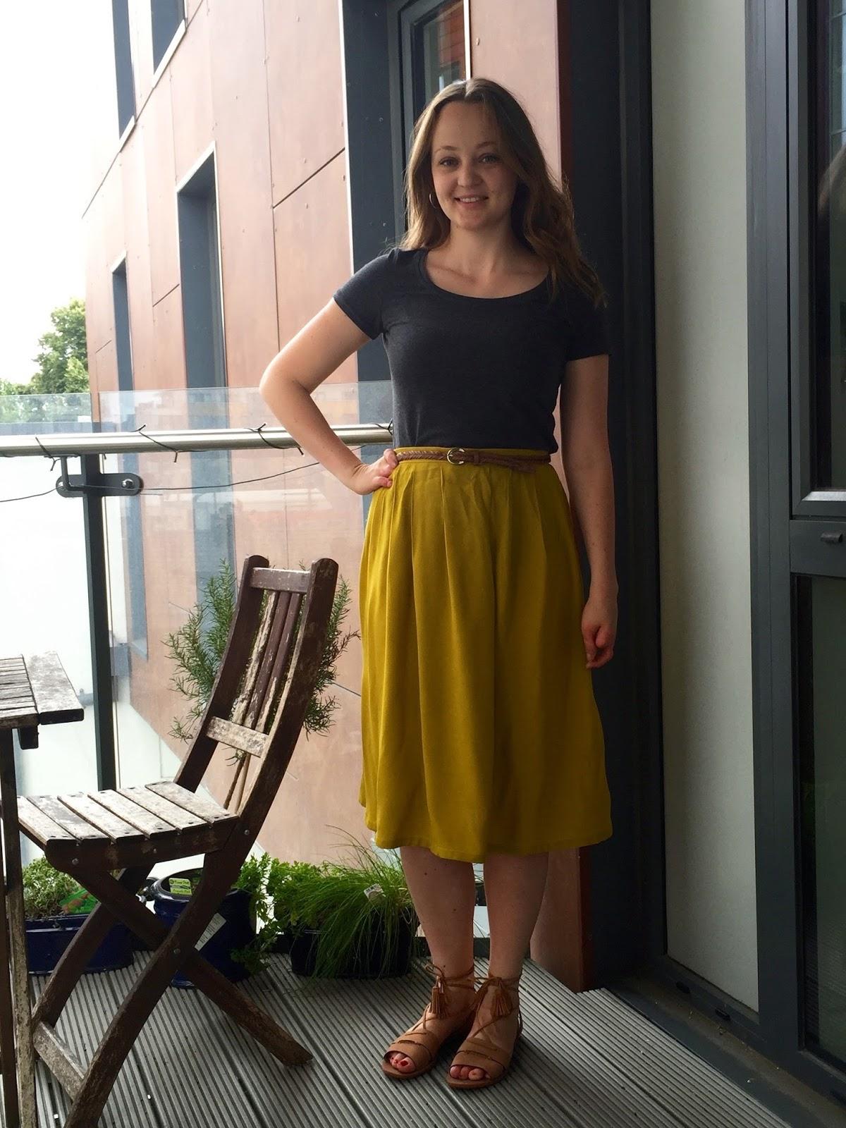 fab2eaaa05 Mustard Rayon Midi Skirt & Charcoal Renfrew Tee | Diary of a Chain ...