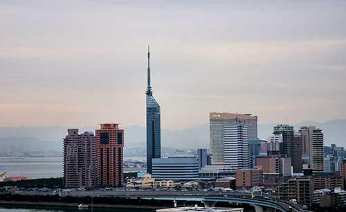 Fukuoka Tower in the distance, Fukuoka Prefecture, Kyushu.