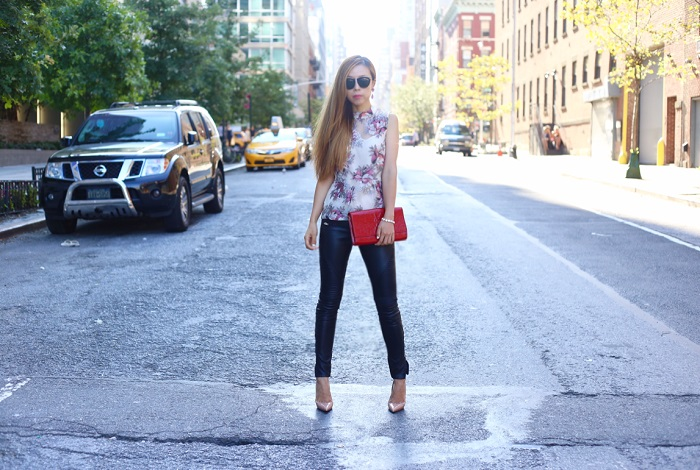 anthropologie swing tank top, blank denim moto pants, saint laurent clutch, loren hope earrings, karen walker harvest sunglasses, christian louboutin so kate, street style, fashion blog, nyc