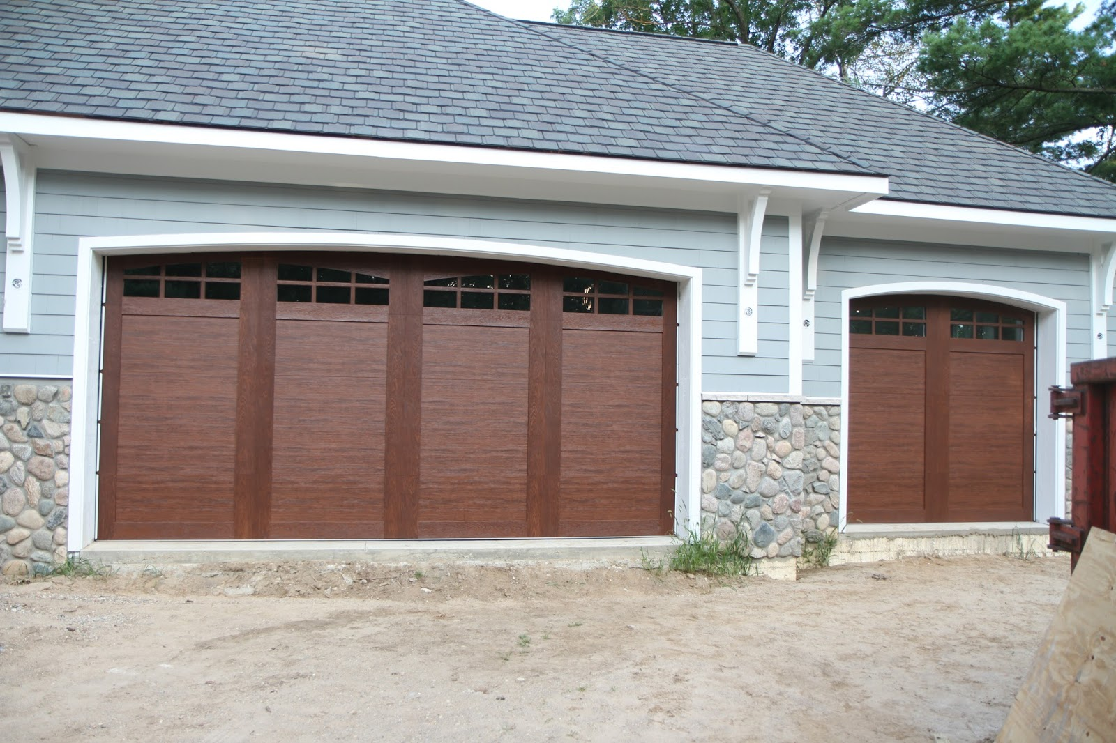 Garage And Front Doors That Match Our Lake Fortress Garage Doors