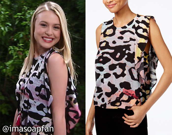Kiki Jerome, Hayley Erin, Ruffled Multicolored Animal Print Tank, Rachel Roy, GH, General Hospital