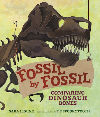 Fossil by Fossil is packed full of interesting dinosaur facts about how dinosaurs skeletons are different than humans, but the most fun part is when the author and illustrator imagine what kids would look like with those extra dinosaur bones.  Perfect for any dino-loving kid!  #FossilByFossil #dinosaurs #NetGalley #preschool #kindergarten #1stgrade #2ndgrade