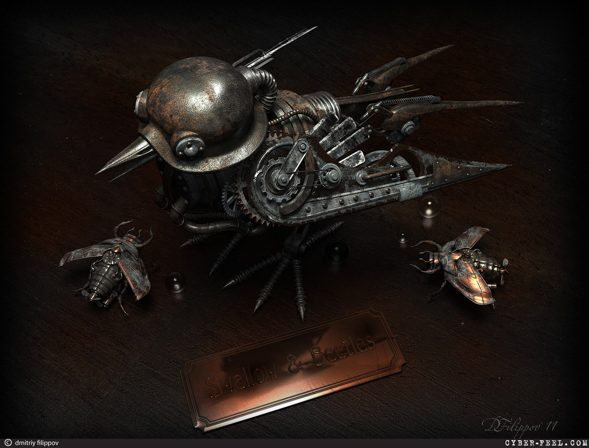 07-Beetles-from-Thumbelina-Dmitry-Filippov-Steampunk-Digital-Art-with-the-Zodiac-www-designstack-co