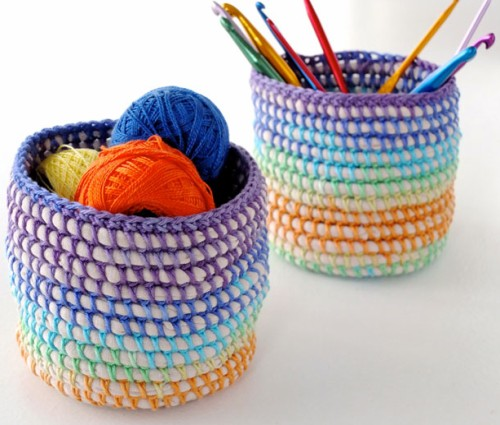 Crochet Rainbow Basket - Tutorial