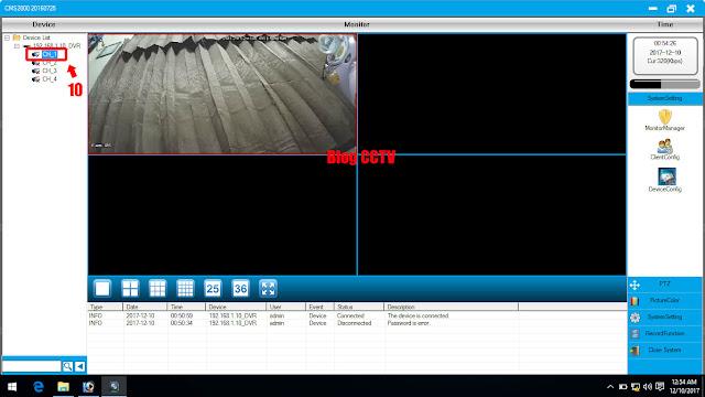 Hasil setting DVR dengan cms