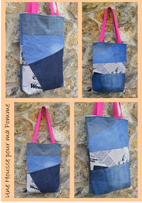 Entièrement en matériau recyclé ces sacs sont faits de morceaux jeans de différentes couleurs assemblés genre patchwork, tissu thème par petite touche, anses en coton, intérieur en lin beige.   Dimension 35x25x4 cm environ.