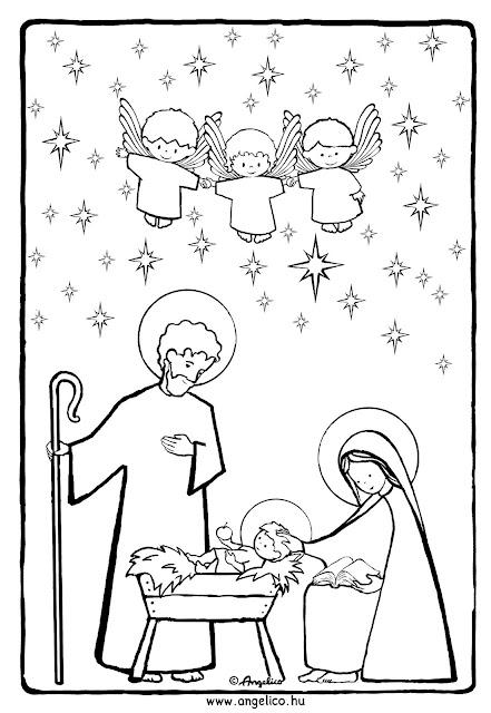 Kleurplaat Kerst Angelico Stift