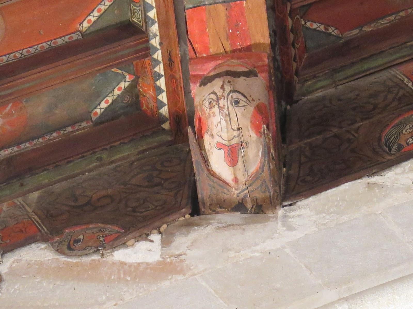 Detalle cabeza Techumbre mudéjar Peñaroya de Tastavins