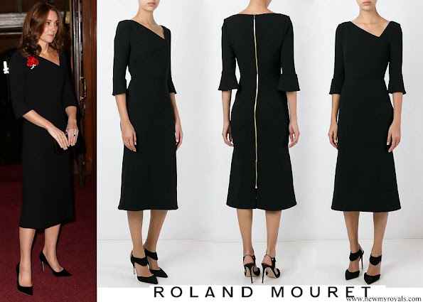 Kate Middleton wore ROLAND MOURET asymmetric neck dress