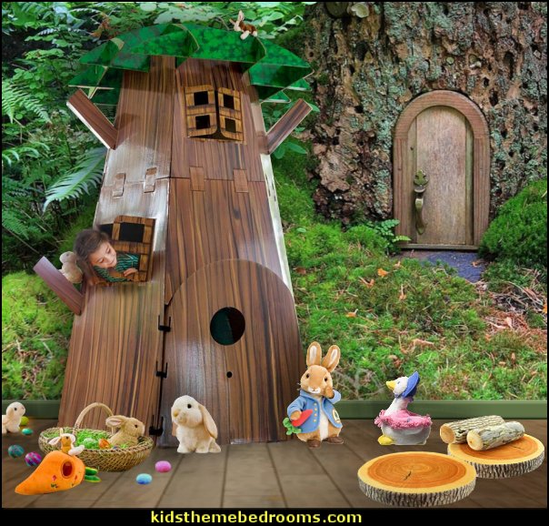 Big Tree Fort  peter rabbit bedroom - decorating peter rabbit theme bedroom - peter rabbit theme room ideas -  Beatrix Potter themed nursery - beatrix potter nursery decor - Beatrix Potter Nursery Murals - peter rabbit nursery decorating ideas - Peter Rabbit Beatrix Potter art - Beatrix Potter wall decals  Peter Rabbit bedding - peter rabbit wall murals - beatrix potter characters plush toys - bunny rabbit decor - bunny baby bedrooms - bunny rabbit theme bedrooms