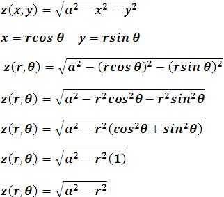 ecuación de la superficie de una esfera dada en coordenadas polares