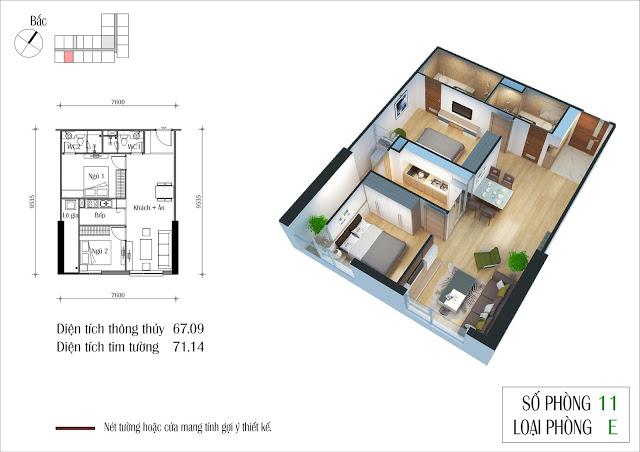 Thiết kế chi tiết căn số 11 toà CT4 Eco Green City