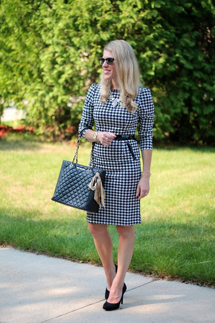 houndstooth dress, black heels, black tote