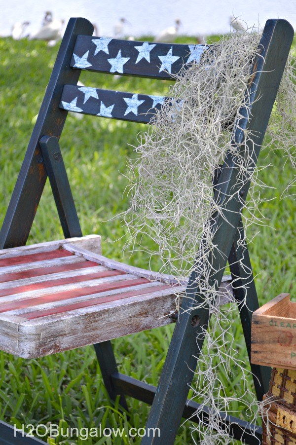 flag chairs, painted 4th of july chairs, stars and stripes chair
