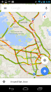 Map showing eleven traffic accidents during the evening commute near San Jose, CA.