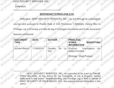 Kent Security privilege log.