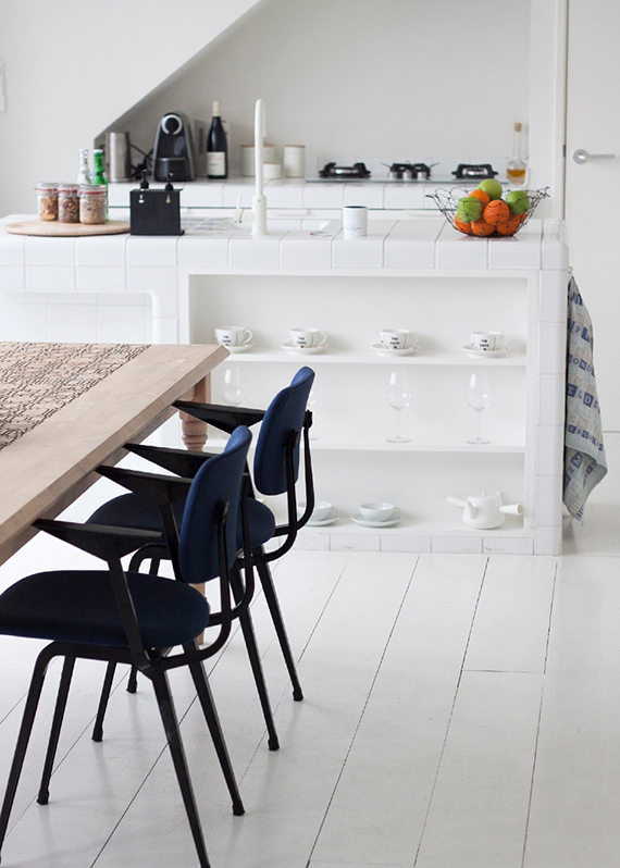 Kitchen with white tiles countertop in Hotel Droog in Amsterdam via Marie-Stella-Maris