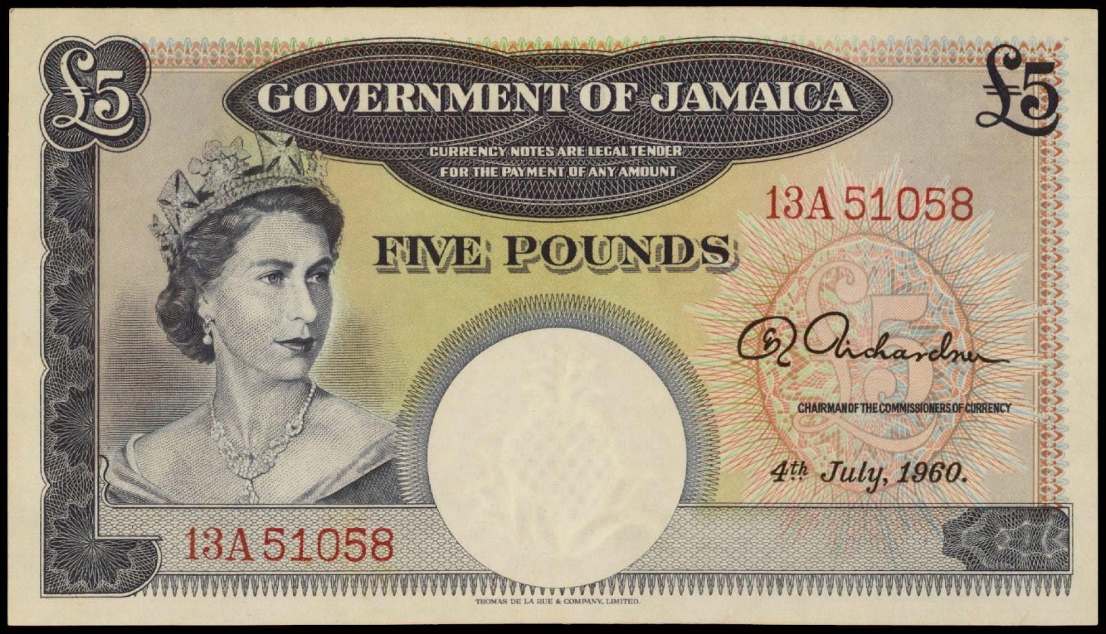 Jamaica Banknotes 5 Pounds 1960 Queen Elizabeth II